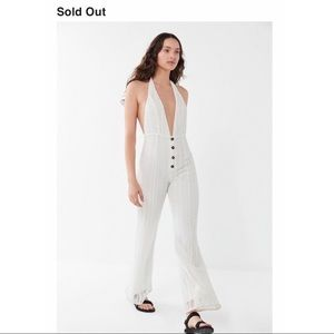 NWT Urban Outfitters White Crochet Halter Jumpsuit